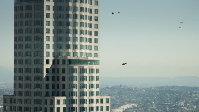 los angeles cityscape and library tower - us bank tower stock videos & royalty-free footage