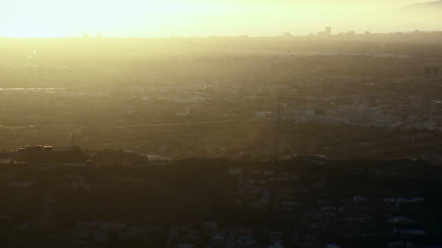 los angeles cityscape at the baldwin hills, at golden hour. - culver city video stock e b–roll