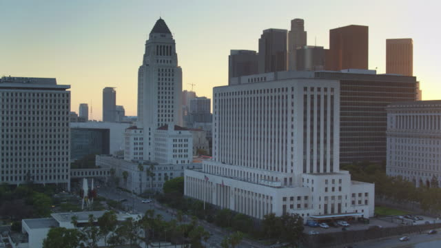 Los Angeles Civic Center at Sunset - Drone Shot