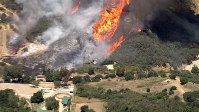 ktla los angeles county fire crews appeared to have gained the upper hand on small brush fire that broke out near malibu - malibu stock videos & royalty-free footage