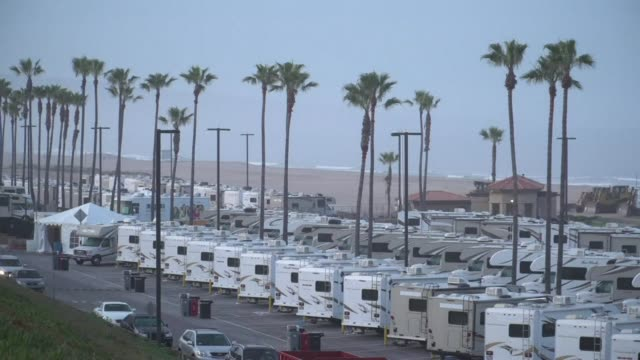 los angeles county is using an rv park in el segundo to temporarily house individuals who may have been ordered to isolate or quarantine by the... - el segundo stock-videos und b-roll-filmmaterial