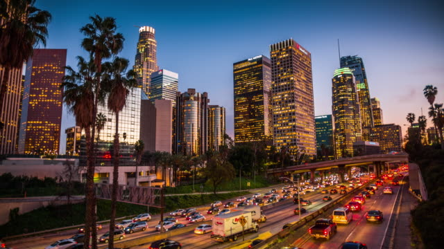 los angeles downtown cityscape, california, usa - city of los angeles stock videos & royalty-free footage