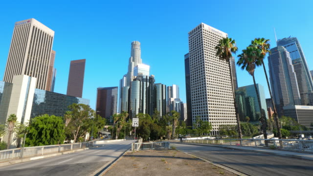 Los Angeles Downtown financial and business district skyline, California, 4K