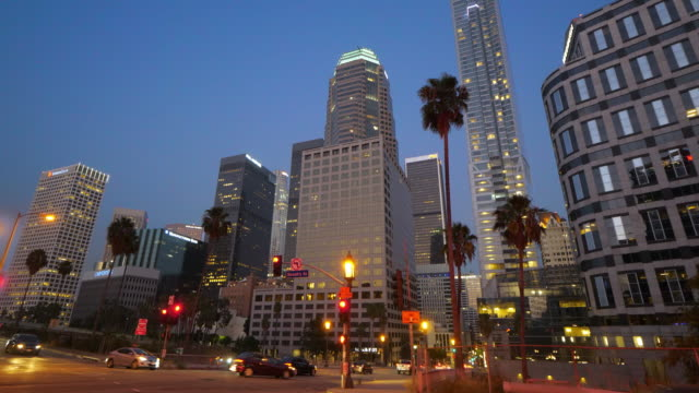 Los Angeles Downtown financial and business district skyline at night, 4K