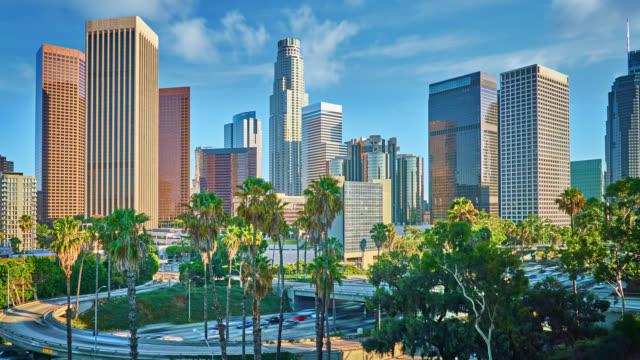 ロサンゼルスのダウンタウン - ヤシ点の映像素材/bロール