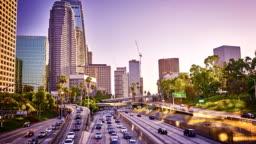 Los Angeles. Financial District. Hyper lapse.