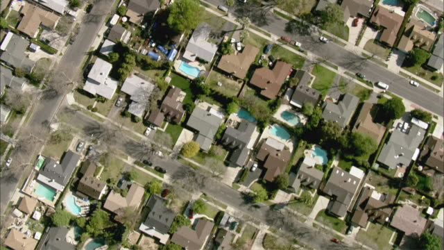 AERIAL Los Angeles housing area, Los Angeles, California, USA