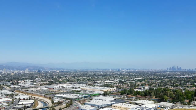 los angeles industrial area, roads, and downtown district from above - culver city stock videos & royalty-free footage