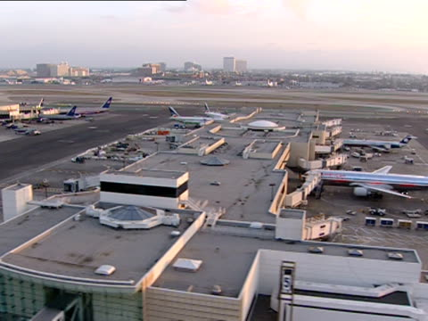 low aerial, los angeles international airport, los angeles, california, usa - 2001 stock videos & royalty-free footage