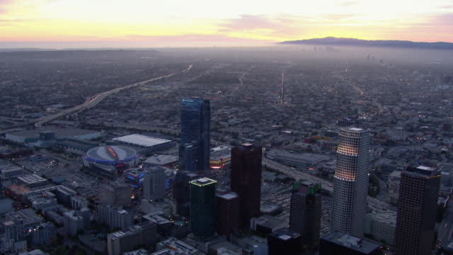 Los Angeles landscape at dusk with the Staples Center.