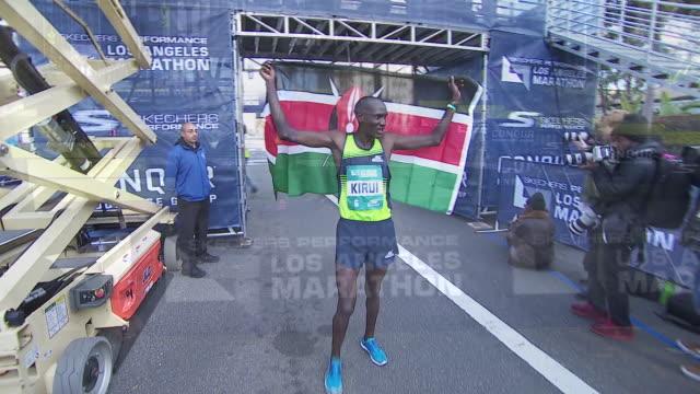 ktla los angeles marathon finish line - finishing line stock videos & royalty-free footage