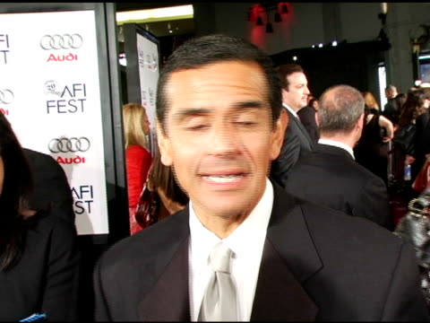 Los Angeles Mayor Antonio Villaragosa on being at AFI and Robert F Kennedy on his political life at the 'Bobby' Premiere arrivals at Grauman's...