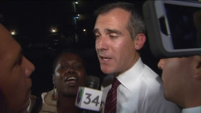 ktla los angeles mayor eric garcetti faced throngs of hostile protesters at a community meeting on october 19 2015 as chaos descended on a gathering... - town hall meeting stock videos and b-roll footage