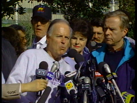 los angeles mayor richard riordan warns people to boil water in the aftermath of the 1994 northridge earthquake in california. - northridge stock videos & royalty-free footage