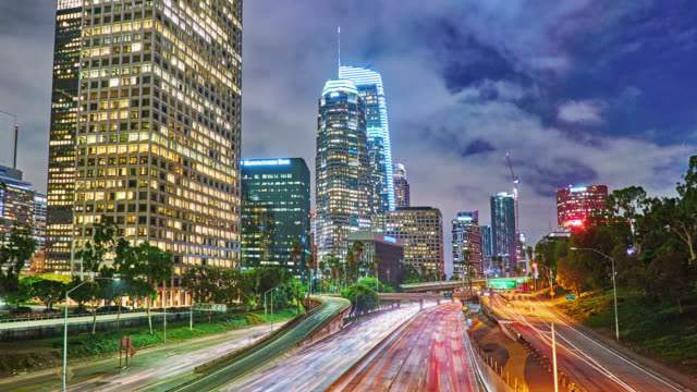 los angeles. night. downtown. financail building. business district. - elevated road stock videos & royalty-free footage