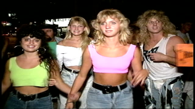 los angeles nightlife in 1988 crowds on sunset strip - sunset boulevard stock-videos und b-roll-filmmaterial