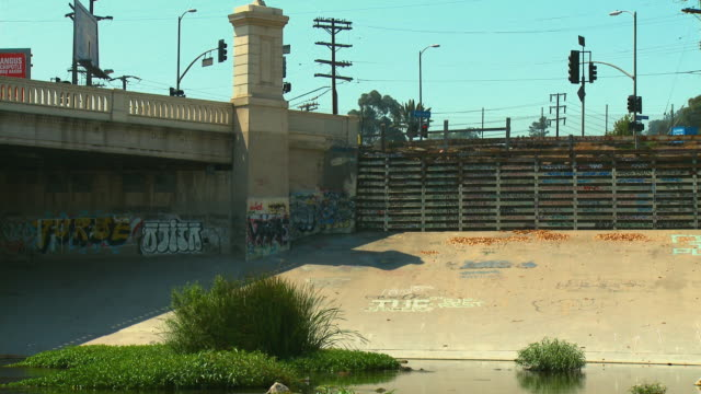 ms, los angeles river and fletcher drive bridge, los angeles, california, usa - graffiti stock videos & royalty-free footage