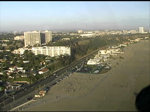 los angeles: santa monica beach from lapd police helicopter - santa monica place stock videos & royalty-free footage