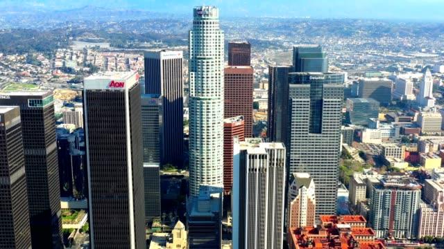 los angeles skyline aerial - north america stock videos & royalty-free footage