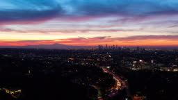 Los Angeles Skyline and Hollywood Beautiful Skyfire Sunrise