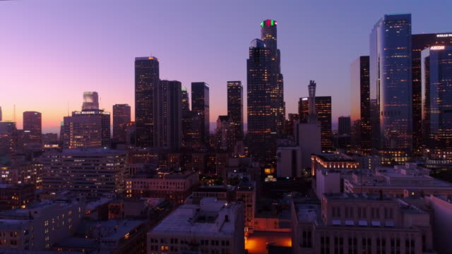 los angeles skyline at dusk revealed - earthquake stock videos and b-roll footage