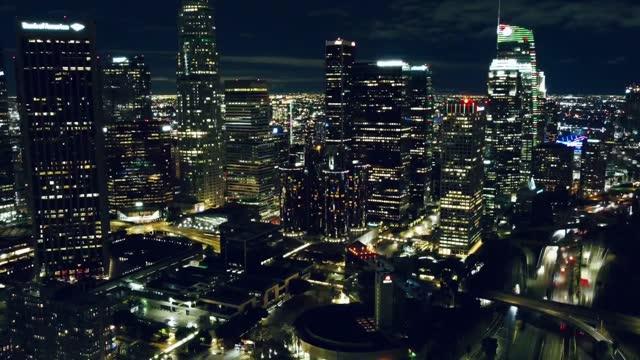los angeles skyline at night hyperlapse video - california stock videos & royalty-free footage