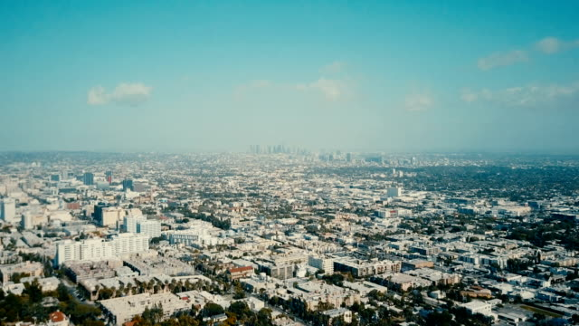 Los Angeles Skyline from Hollywood Hills Aerial