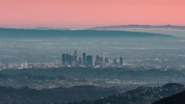 los angeles skyline timelapse 4k - dusk to night stock videos & royalty-free footage