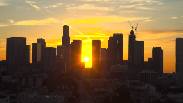 los angeles skyline - emergence stock videos & royalty-free footage