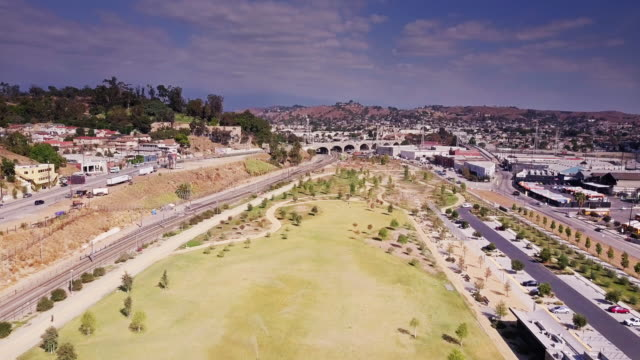 los angeles state historic park - aerial view - state park stock videos & royalty-free footage