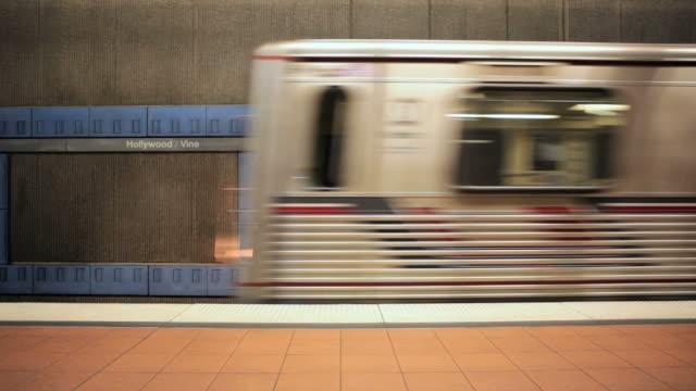 vídeos de stock, filmes e b-roll de ms los angeles subway train / hollywood, los angeles, california, usa - trem do metrô