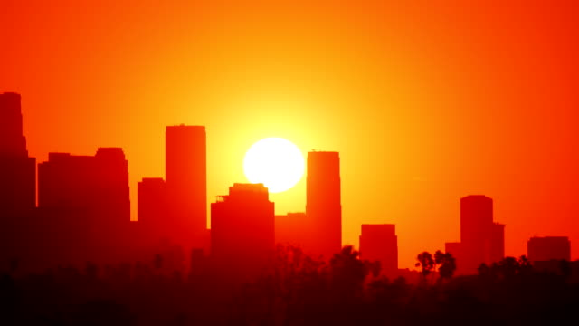 stockvideo's en b-roll-footage met los angeles sunrise time lapse - city of los angeles