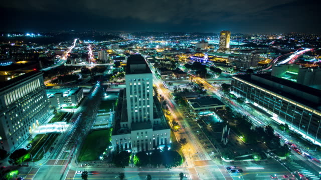 Los Angeles Traffic Light Trails from Above  - Time Lapse
