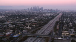 AERIAL Los Angeles with Downton in the background at sunset
