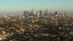 AERIAL Los Angeles with the business district in sunshine