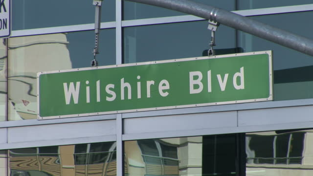 los angelesclose view of wilshire boulevard signboard in los angeles united states - 道路名の標識点の映像素材/bロール
