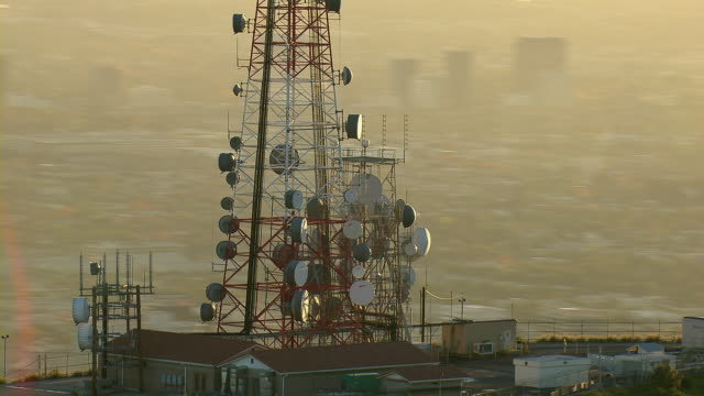 los angeles's mount lee radio tower - telecommunications equipment stock videos and b-roll footage