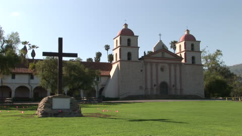 los angelessanta barbara mission in santa barbara california - santa barbara california stock videos & royalty-free footage