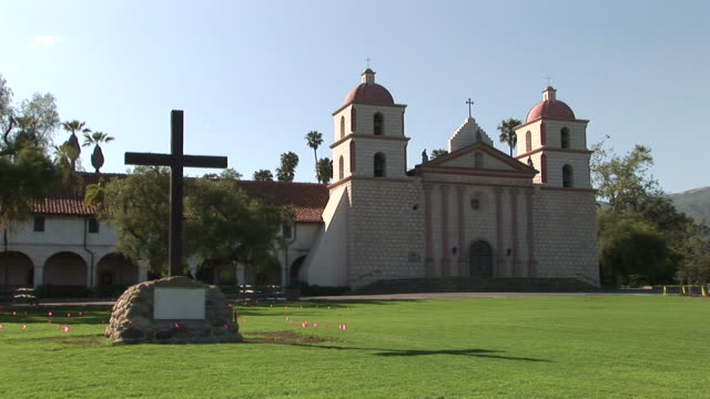 los angelessanta barbara mission in santa barbara california - santa barbara california stock videos & royalty-free footage