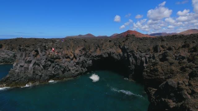 los hervideros, lanzarote, canary islands, spain, atlantic, europe - atlantic islands stock videos & royalty-free footage