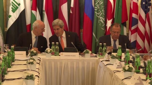 los jefes de la diplomacia de unos 20 paises liderados por estados unidos y rusia establecieron este sábado en viena un calendario concreto para... - concreto stock videos & royalty-free footage