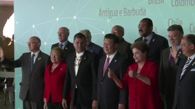 los presidentes latinoamericanos de brasil y el presidente chino xi jinping participaron este jueves en brasilia de una cumbre que refuerza el... - liderazgo stock videos and b-roll footage
