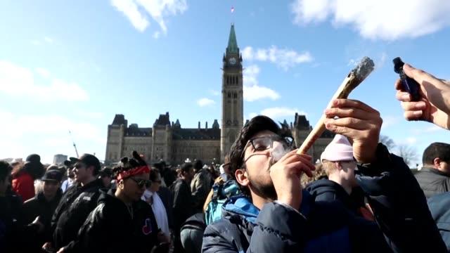 los senadores canadienses aprobaron la norma que legaliza el consumo de cannabis con fines recreativos en el pais y esta cerca de ser el primer... - canadá stock videos & royalty-free footage