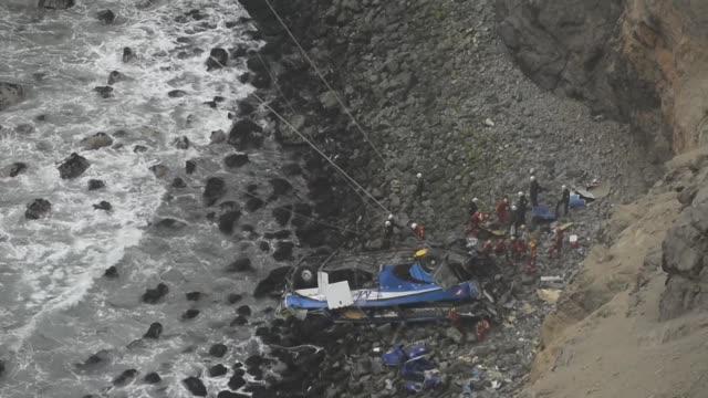 los socorristas continuaban el miercoles la tarea de recuperar cadaveres de un autobus de pasajeros que cayo a un abismo de 110 metros en una ruta... - numero stock videos & royalty-free footage