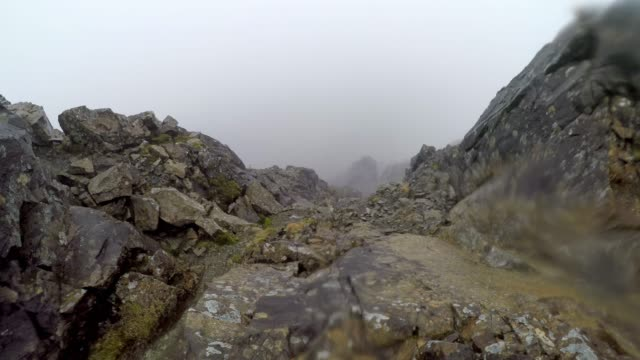 Lost on top of mountain in bad weather, hiking in low visibility, Black Cuillin ridge, Isle of Skye, Scotland