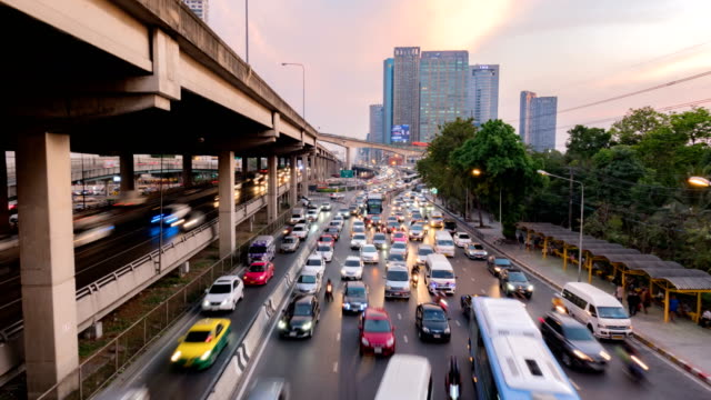 a lot of cars. traffic in bangkok . timelapse the traffic of cars in the city - bangkok stock videos & royalty-free footage