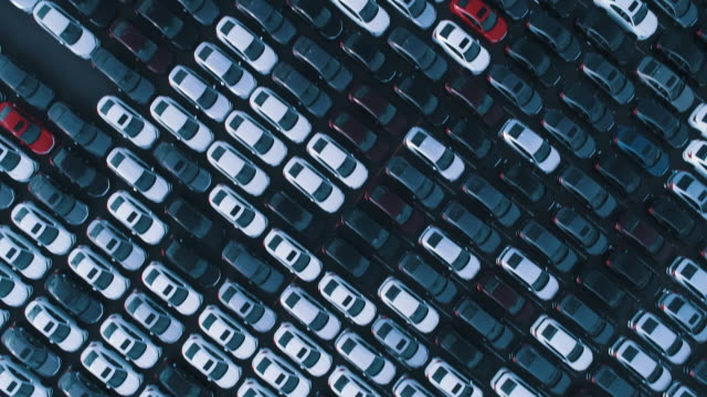 a lot of parked cars before shipment - large group of objects stock videos & royalty-free footage