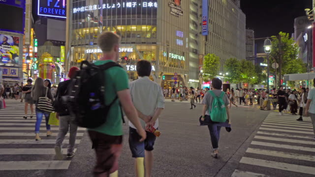 a lot of people in shibuya area intersection in tokyo japan - pedestrian stock videos & royalty-free footage