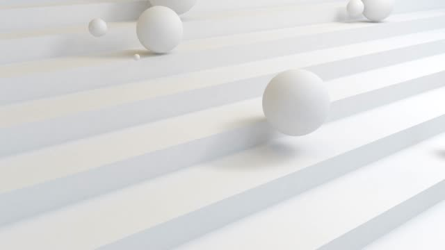 lot of white ball fall down the stairs .abstract trendy modern 3d rendering background. geometric shapes. - material stock videos & royalty-free footage