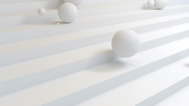menge der weißen kugel fallen die treppe hinunter. abstrakte trendige moderne 3d rendering hintergrund. geometrische formen. - rohmaterial stock-videos und b-roll-filmmaterial